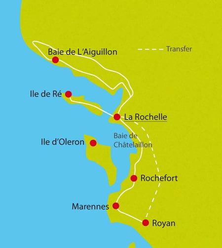Karte Radtour Atlantische Küste