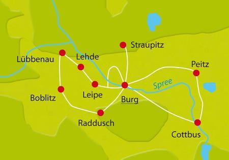 Karte Spreewald Sternfahrt