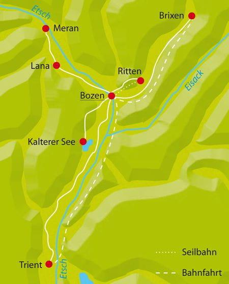 Karte Radtour Bozen-Sternfahrt