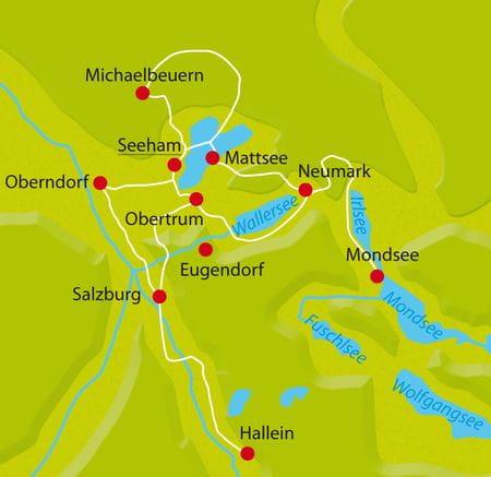 Karte Radtour Salzburger Seenlandschaft