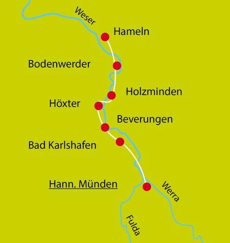 Karte Weser-Radweg