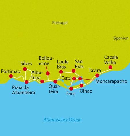 Karte Radtour Algarve