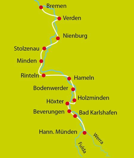 Karte Radtour Weser Sportlich