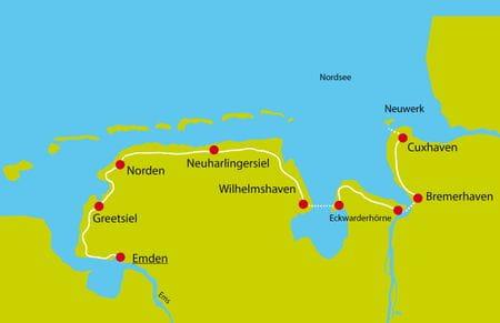 Karte Nordseekuesten-Radweg