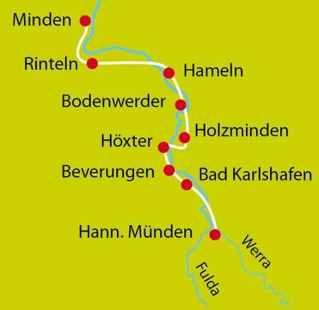 Karte Weser Entdecker und Bummeltour