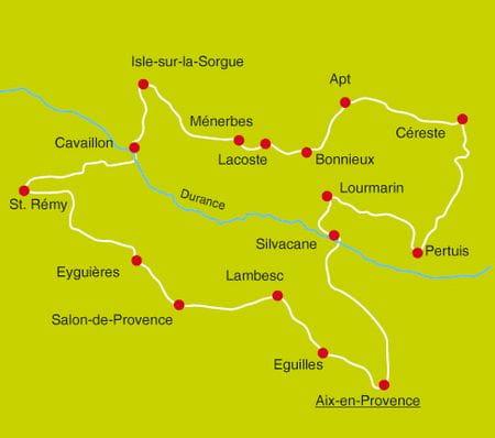 Karte Radtour Luberon