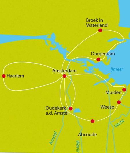 Karte Radtour Amsterdam Sternfahrt