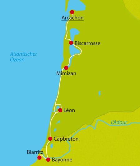 Radreise Atlantik Karte