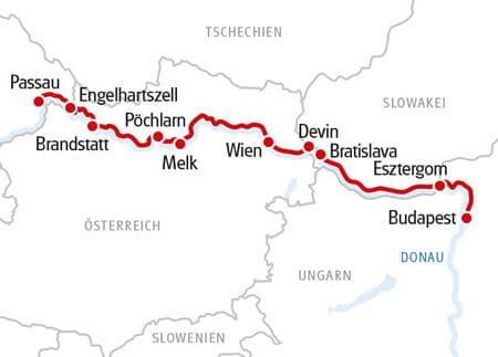 Donau Karte Rad und Schiff Passau-Budapest