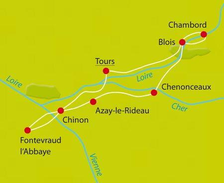 Karte Radtour Loire-Schlösser