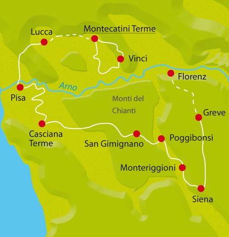 Karte Radtour Toskana