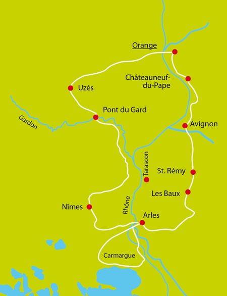 Karte Radtour Höhepunkte der Provence