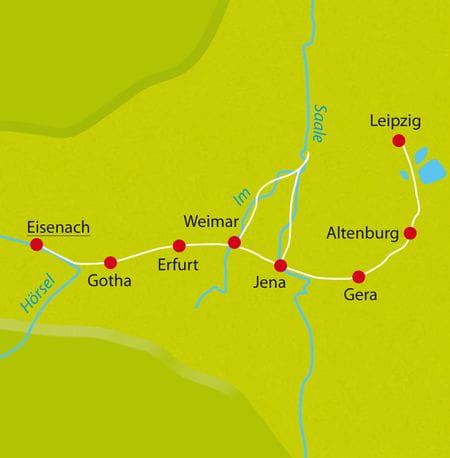 Radreise Karte Thüringen