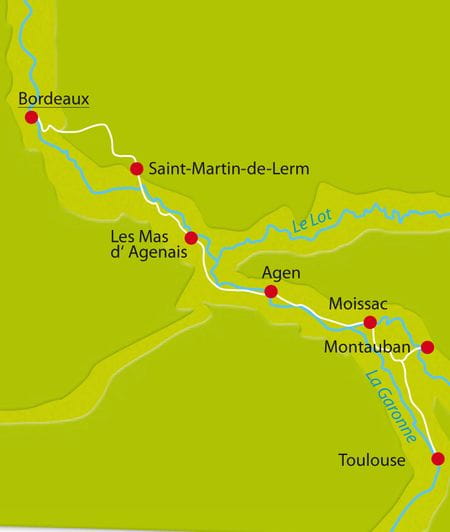 Radreise Bordeaux Karte
