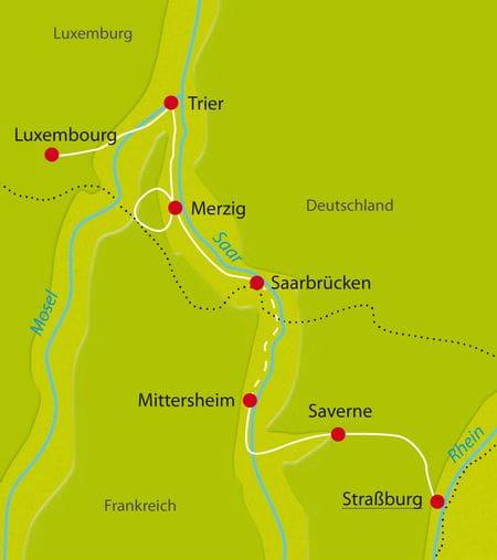 Karte Radtour Strassburg Luxemburg