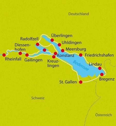 Karte Radtour Bodensee Erlebnisreise