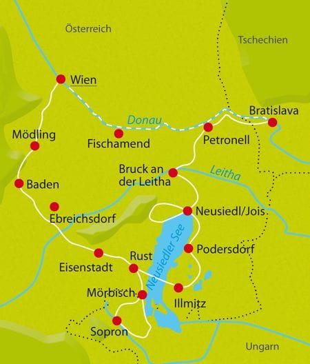 Karte Radtour Neusiedlersee Rundfahrt