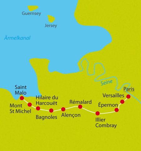 Karte Radreise Normandie