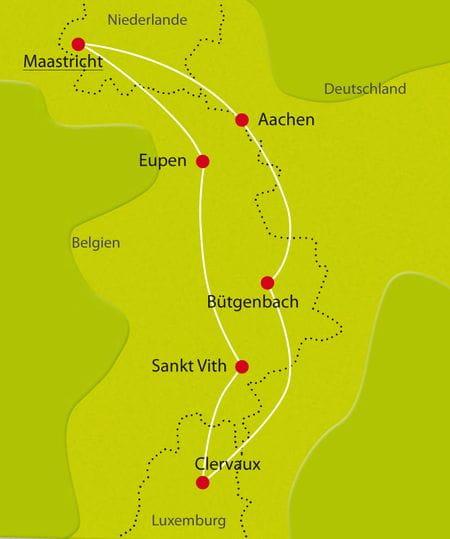 Karte Radurlaub Niederlande Belgien und Luxemburg